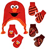Sesame Street Elmo Character Hat and 3 Pair Mittens Cold Weather Set, Toddler Boys, Age 2-4