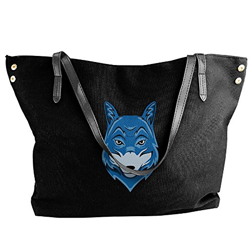 Canvas Bag Women's Handbag Hand Blue Head Tote Wolf Shoulder Black Large 4qwdwHF