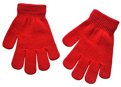 BaiX Boys and Girls Warm Winter Knitted Writing Gloves, 5-12 Years Old, Red ()