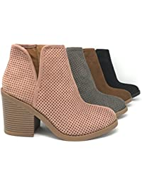 Soda Womens Target Perforated Stacked Block Heel Ankle...