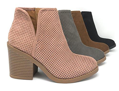MVE Schuhe Soda Womens Ziel perforiert Stacked Blockabsatz Ankle Bootie Erröten * Ta