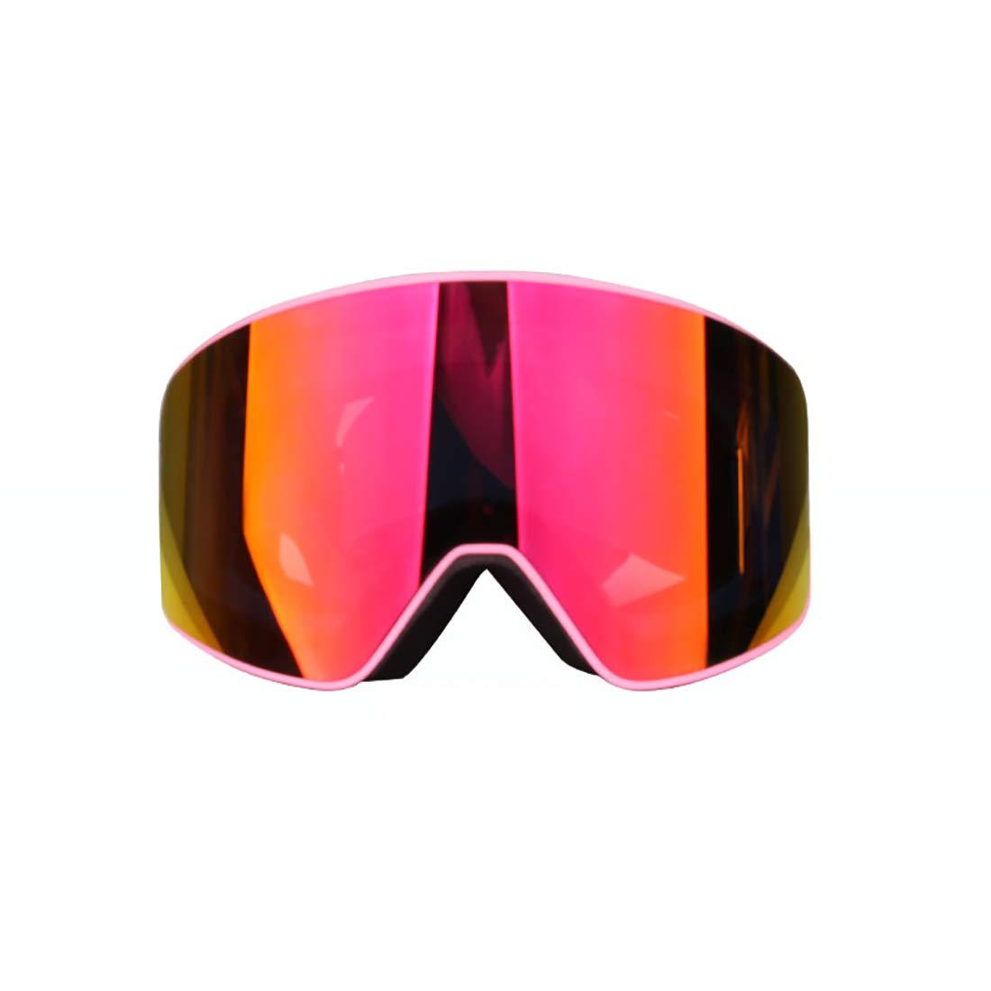 LBWNB Lunettes de Ski-Anti Brouillard Interchangeble Ski Verre Snow Snowboard magnétique Amovible Double lentille de Prougeection sans Cadre pour Les Hommes et Les Femmes,Powderframerougefilm