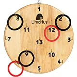 LimeHus Games Ring Toss Game for Adults & Kids - Playset with Board, Hooks and Rings - Outdoor and Indoor Fun - Play Everywhere, Home, Office, Backyard - Safe Alternative to Darts