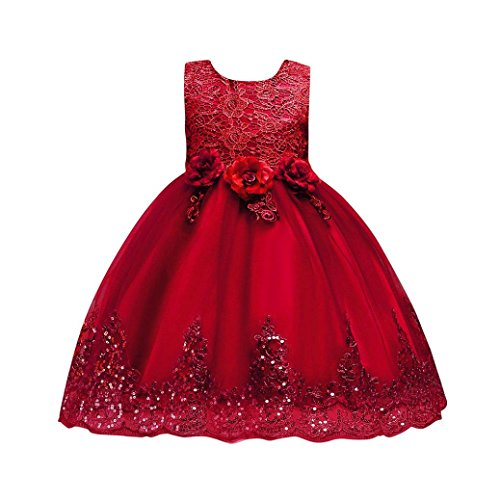 Fdelink Floral Baby Girl Princess Bridesmaid Pageant Gown Birthday Party Wedding Dress Solid O Neck Mid Calf Dress For Girls  3T  Red