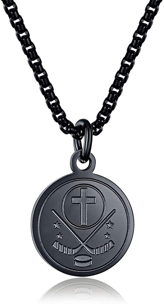 INRENG Athletes Sports Cross Pendant Necklace for Men Women Faith Prayer Inspiring Luke 1:37 Bible Verse on Back