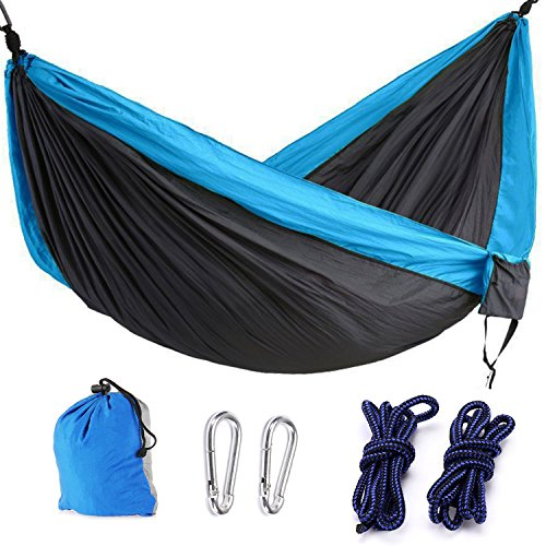 IUME Double Camping Hammock With Hammock Tree Straps,Portable Parachute Nylon Hammock for Backpacking Travel- 103