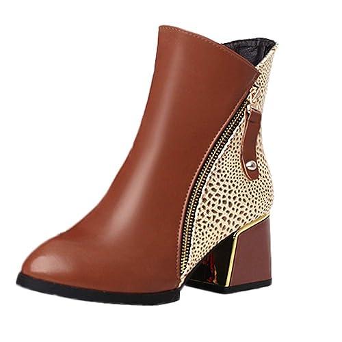 Tefamore Botas de Mujer con Tacón Altos Cremallera Otoño Chelsea de Vestir Piel Transpirable Botines Zapatos de Tacón Fiesta Calzado Romano 6cm 35-43: ...