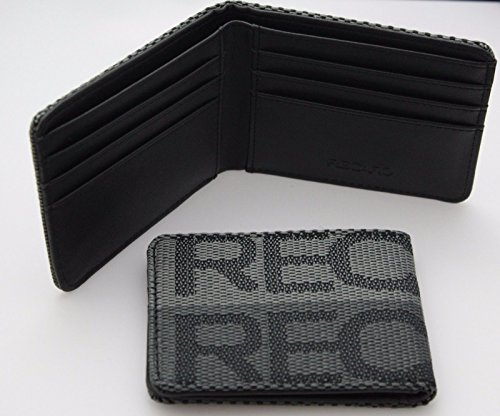 RECARO Seat Gradation Logo Wallet Custom Stitched Leather Racing-Silver/Grey