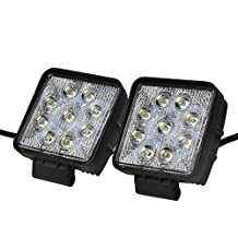 """KAWELL® 2 Pack 4.2"""" 27W Square 9-32V 6000K 1800lm 60 Degree LED for ATV/Jeep/boat/suv/truck/car/atvs/fishing/Deck Driving light Off Road Waterproof Led Flood Work Light"""