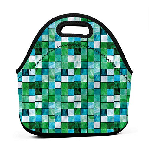 Tote Waterproof Outdoor Emerald,Mosaic Square Tiles Aquatic,teal lunch bag for girls