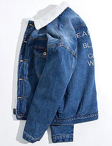Quotidiana Maniche Cotone Semplice Block Casuali Uomini Color Sexy Blu Lettera Lana Lunghe di Cineserie Uscire Cappotto Sadfsd Parka Di Regolare CwxnBqPp4v