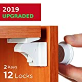 Baby Proofing and Childproof Cabinet Locks for Child Safety (12 Locks, 2 Keys)- for Kitchen Bathroom Cabinet and Drawer | Easy to Install and Hidden - by Baby Trust