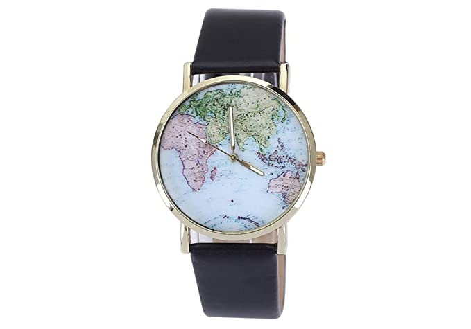 Geneva Geneva World Map - Reloj Color Negro
