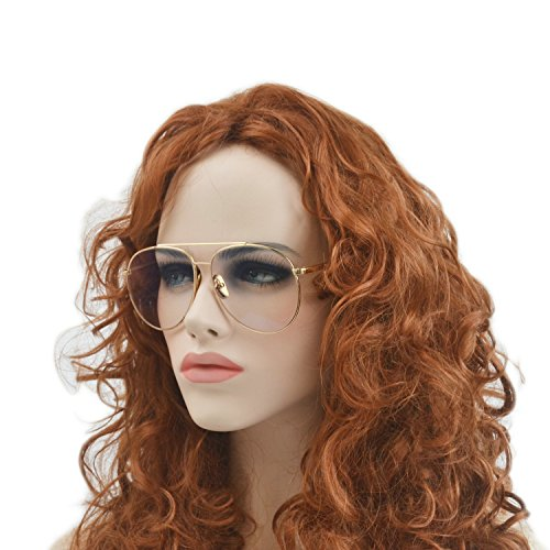 MINCL/Double Metal Bridge Big Box Round Sunglasses Clear And Pink (gold-clear, - Glasses Big Clear
