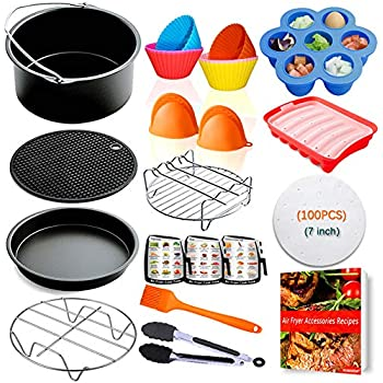 Air Fryer Accessories 7 inch,for Phillips Gowise Ninja Cozyna Cosori Nuwave Air Fryer Accessories Fit 2.75,3.2,3.5,3.7,4.2QT,Deep Fryer Accessories,FDA Compliant,Dishwasher Safe with Cookbook