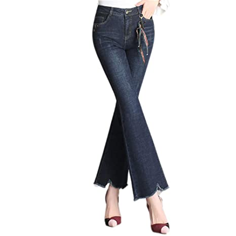 QJKai de las Mujeres Talle Alto Pierna Ancha Pantalones ...