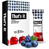 That's it Apple + Blueberry 100% Natural Real Fruit Bar, Best High Fiber Vegan, Gluten Free Healthy Snack, Paleo for Children & Adults, Non GMO Sugar-Free, No Preservatives Energy Food (12 Pack)