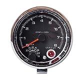 3.75 Pulgadas Tacómetro 0~8 × 1000 RPM Instrumento de modificación del automóvil con luz de Fondo de Siete Colores Dispositivo Sensor