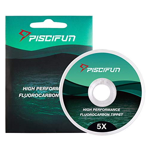 Piscifun Fluorocarbon Fly Fishing Tippet - Low Visibility - Superior Abrasion Resistance - 33yd(Size: 0X 1x 2X 3X 4X 5X 6X)