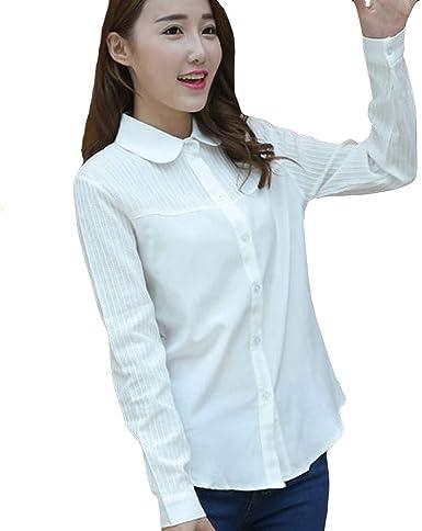 Sylar Blusa De Mujer Manga Larga Camisas Mujer Color Sólido Slim Fit Camisas Mujer Manga Larga Camisetas Mujer Solapa Camisas Mujer Formal Básica Camisas De Rayas: Amazon.es: Ropa y accesorios