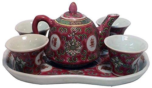 7 Piece Red Miniature Child Size Tea Set -