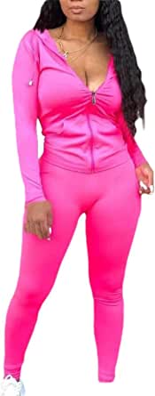 Womens Hoodie 2 Piece Outfits Sweatsuits Zip Up Long Sleeve Jacket Skinny Long Pants Tracksuit Set