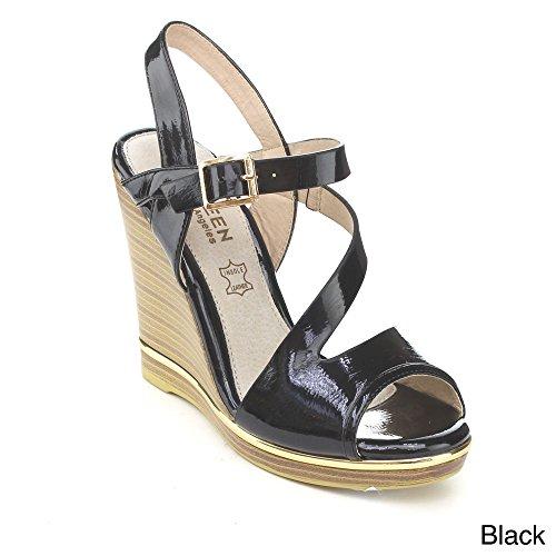 Kayleen EVINA-4 Women's Patent Ankle Strap Platform High Heel Wedge Sandals, Color:BLACK, Size:7.5