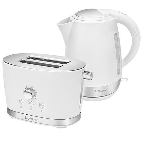 Kunststoff Wasserkocher und Toaster Set Weiß