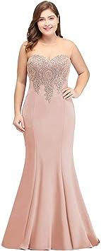 JJHR Kleider Plus Size Langes Abendkleid Rosa Formale Party Kleid Elegante Spitze Applique-Nude Pink_10: Sport & Freizeit