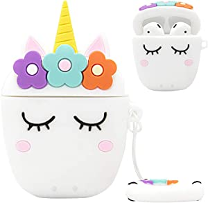 Airpods 1&2 Charging Case Cover | Cute Cartoon Airpods Case | Silicone AirPod Cover with Keychain | Cute Earbud Case Airpods for Kids Teens Girls Boys (White Unicorn)