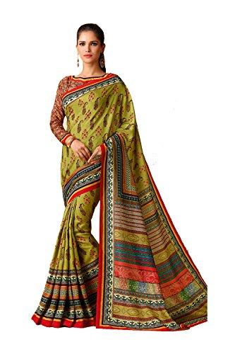 Da Facioun Indian Sarees For Women Wedding Designer Party Wear Traditional Lime Green Saree. by Da Facioun