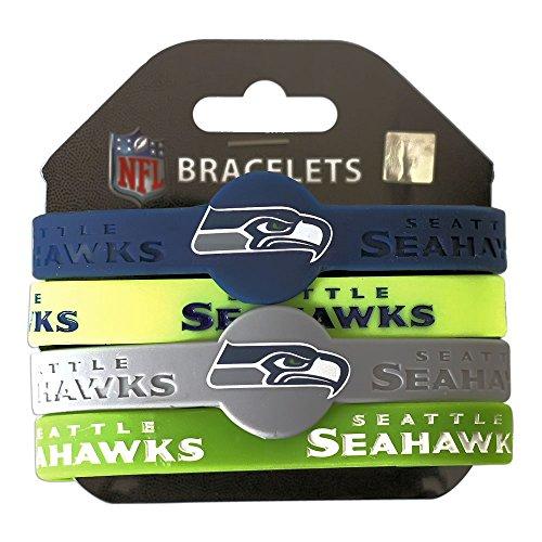 (Seattle Seahawks NFL Silicone Rubber Wrist Band Bracelet Set of 4)