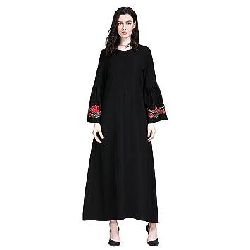 Moresave Vestido musulmán de las mujeres Kaftan bordado Floral de manga larga larga Maxi árabe Vestido