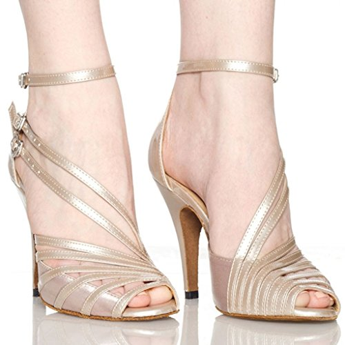 Salsa Ballrom Wedding Modern Tango Satin Diamond Color Doris Shoes Skin Heels Latin Women's Dance Studded Sandals 1IYxzw