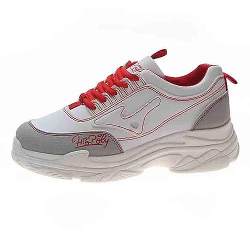 LHWY Zapatillas Mocasines de Deportes Las señoras de la Moda de la Manera sólida Atan para Arriba Las cuñas Redondas del Dedo del pie Zapatos de la ...