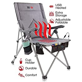 The Hot Seat, Heated Portable Chair, Perfect for Camping, Outdoor Sports, Beach, and Picnics. USB Heated with Extra-large Armrests, X-Large Travel Bag, 5 Pockets, Cup Holder, Battery Pack NOT Included