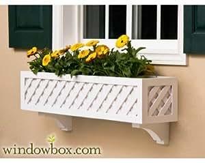 48Inch Entramado Premier no rot PVC compuesto flor ventana caja w/2soportes decorativos