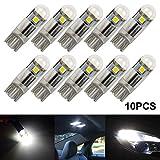 nterior car lights - T10 LED Light Bulb W5W 194 LED Light Bulb 3030 3SMD Wedge Interior Exterior LED Light(10pcs,White,3SMD)