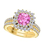 1.50 Ct Cushion & Cut Pink Sapphire & White CZ Diamond Unique 14k Yellow Gold Plated Starburst Design Wedding Engagement Ring Halo Bridal Sets Size 4.5-12