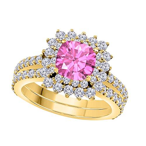 1.50 Ct Cushion & Cut Pink Sapphire & White CZ Diamond Unique 14k Yellow Gold Plated Starburst Design Wedding Engagement Ring Halo Bridal Sets Size 4.5-12