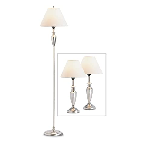 Bedroom Lamps Set, Contemporary Silver Metal Bedside Table Lamps Set Of  Three