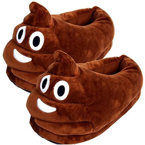 Feiuruhf Emoji Slippers,Warm&Comfortable Cartoon Cotton Slippers Emoji Slippers Plush Fluffy House Shoes Winter Indoor Shoes House Plush Slippers For Adult(Poop) (Poop)