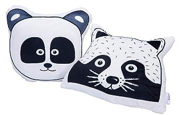 Hantra Kinderkissen, Kissen Kinderzimmer, extra weich - Kissen Panda +  Kissen Waschbär 2er Set