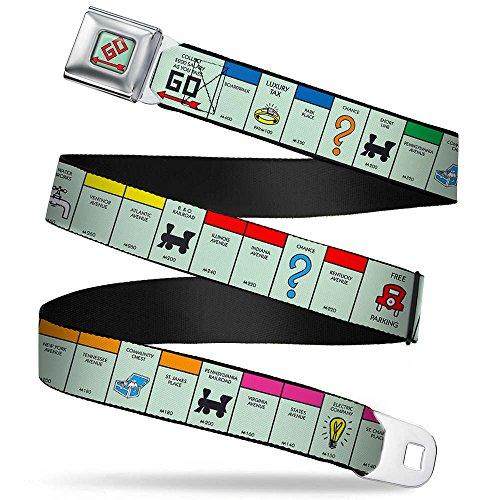 [Buckle Down Big Boys American Monopoly Board Game Spaces Seatbelt Belt, multi, Regular] (Buckle Down Belt Buckles)