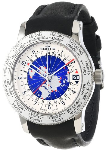 Fortis Men's 674.20.15 L.01 B-47 Worldtimer GMT Swiss Automatic Bidirectional Bezel Black Leather GMT Date Watch