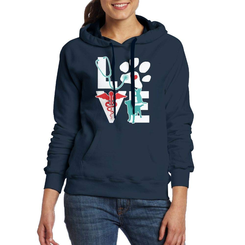 TCJX Veterinarian Love Cat and Dog Veterinary Adult Womens Long Sleeve Sweater Tee Shirt with Pocket