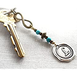 Infinity Keychain Silver Wax Seal Initial Monogram Personalized Custom Keyring with Copper Charm and Turquoise Beads Love Valentine's Day Gift for boyfriend girlfriend mom dad man