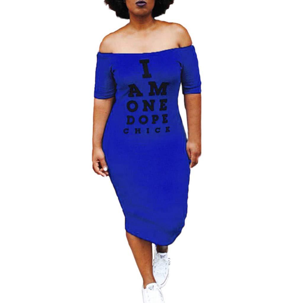 Rexinte Women Party Summer Dress Off Shoulder Pencil Bodycon Dresses Print Knee Length Gown(Blue,3XL