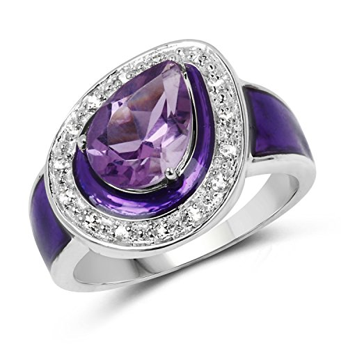10x7MM Pear Amethyst Ring in .925 Sterling Silver, Real Genuine Amethyst Mother's Day Gift (1.30ctw) ()