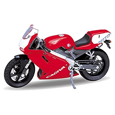 2000 Cagiva Mito 125 [Welly 12163], Rouge / Blanc, 1:18 Die Cast Jeux et Jouets